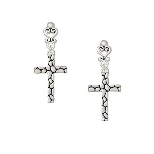 Pebble Cross Filigree Heart Earrings