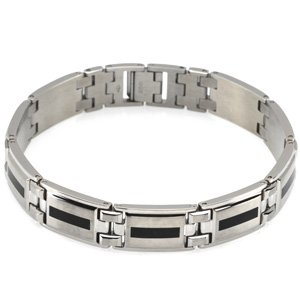 Mens Stainless Steel and Black Enamel Link Bracelet