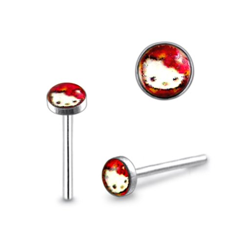 New 20G-8MM 3mm Red Kitty Logo Straight Nose Pin Piercing Jewelry