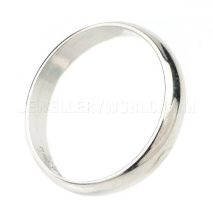 4mm 18ct White Gold D-Shape Wedding Ring