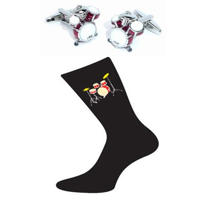 Pair of Drumkit Design Cotton Rich Socks & Red Drumkit Cufflinks images