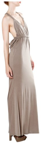 Luxe Haven Plunging Low Back Maxi Dress Medium Taupe