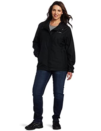 Columbia Women's Plus Silver Falls Extended Rain Jacket, Black, 2X