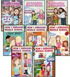 img - for How I Survived Middle School Complete Set, Books 1-8: Can You Get an F in Lunch?, Madame President, I Heard a Rumor, The New Girl, Cheat Sheet, P.S. I Really Like You, Who's Got Spirit?, and It's All Downhill from Here (8-Book Set) book / textbook / text book