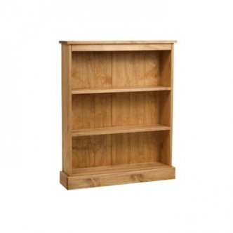 Santa Fe Mission Pine Low Wide Bookcase