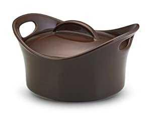 Rachael Ray Stoneware 2-3/4-Quart Covered Bubble and Brown Casserround Casserole