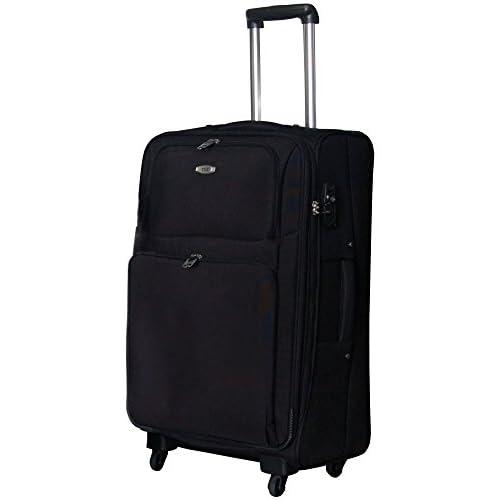 TSAロック搭載 ソフトキャリーケース スーツケース ヒノモトキャスター装備 Accord2トローリー・L (ブラック)