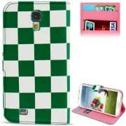2-color Grid Pattern Leather Case with Credit Card Slots Holder for Samsung Galaxy S IV / i9500(Green)