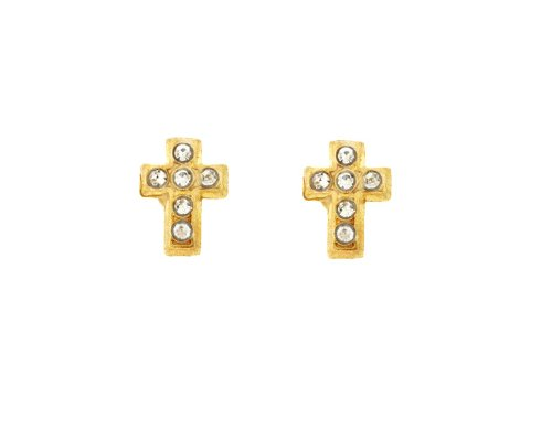 Ladies 14K Yellow Gold Designer Cross White CZ Stud Earrings 0.2GR