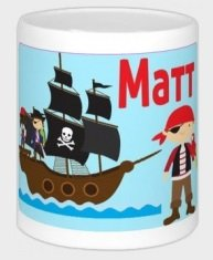 Spardose Wunschname Pirat Piratenschiff mit Namen Wunschmotiv wolga-kunterbunt