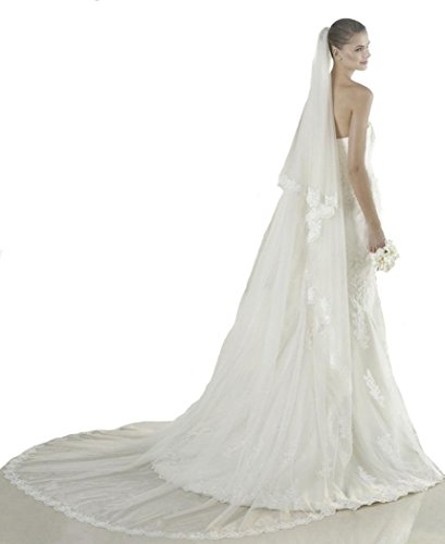 Passat Ivory 2 Tiers 2T 3M Lace Cathedral Wedding Bridal Veil 214 Size 2T(1st tier 60CM/24