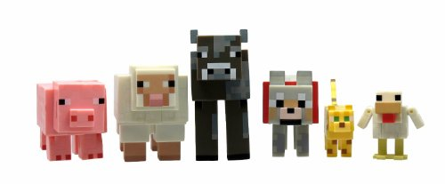 Minecraft Series 2 Articulated Animal Mob Figures Sheep Cow Pig Chicken Ocelot Wolf