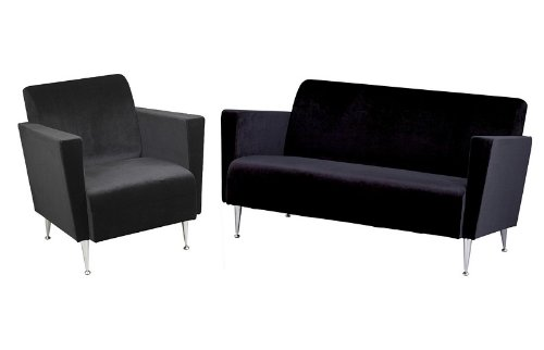 Buy Low Price Adesso 2pc Club Chair & Loveseat Sofa Set in Memphis Black Polyester Velvet (Livset-WK4221-4225BK)