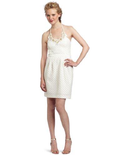 Trina Turk Women's Nadja Halter Dress, Ivory, 10,