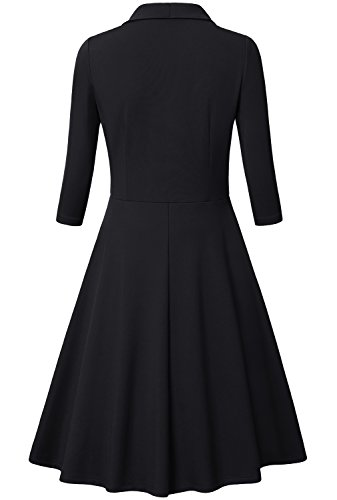 Bebonnie-Women-34-Sleeves-Deep-V-Neck-Casual-Cocktail-Party-Dress