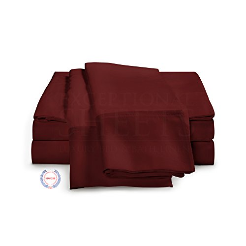 100% Egyptian Cotton Sheet Set - 1000 Thread Count | Single Ply - Sateen Weave | Set Includes One Flat Sheet, One Fitted Sheet & Two Pillowcases (Thick Cotton Sheets compare prices)
