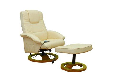 Massagesessel Fernsehsessel mit Hocker Relaxsessel Massage+Heizung CREME