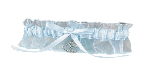 Hortense B. Hewitt Wedding Accessories Heart Charms Garter, Blue