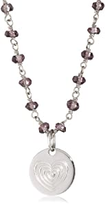 Emily and Ashley Pink Topaz Chain Necklace with Heart Charm
