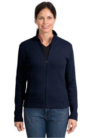 Ladies Port Authority Ladies Flatback Rib Full-Zip Jacket, Navy, 2X