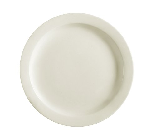 Cac China Nrc-6 Narrow Rim 6-1/2-Inch American White Stoneware Plate, Box Of 36