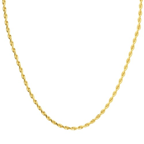 Duragold 14k Yellow Gold Solid Diamond-Cut Rope Chain Necklace (3.0mm), 18""