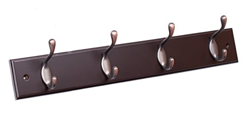 BirdRock Home Oval Hook Coat and Hat Rack | 4 Hooks | Brown Finish | Bronze Hooks