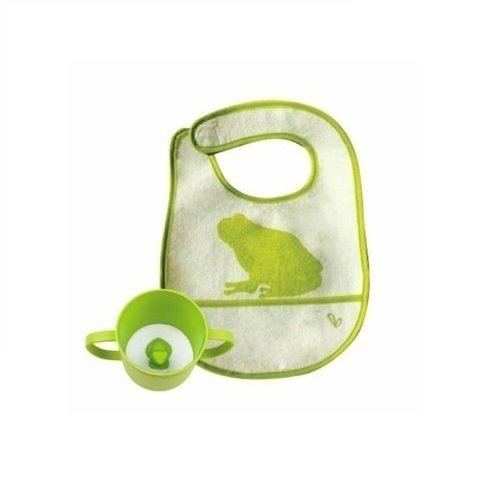 JJ Rabbit - Rabbit Cuppie and Bib Set - Frog - Green