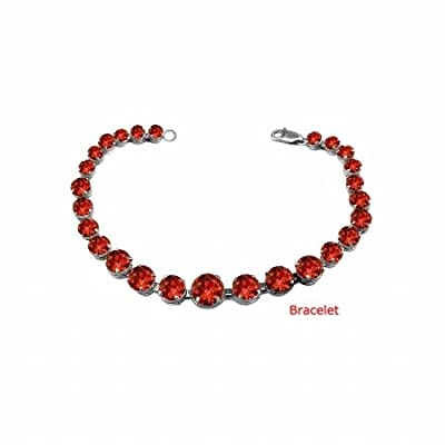 Fine Jewelry Vault UBBRBK7205W14GR January Birthstone Garnet Graduated Bead Necklace in 14K White Gold 15 CT TGW Wedding Gift