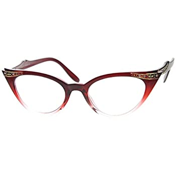 zeroUV - Vintage Cateyes 80s Inspired Fashion Clear Lens Cat Eye Glasses with Rhinestones