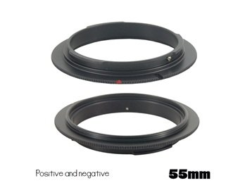 55Mm Metal Reverse Mount Macro Lens Adapter For Canon Eos (Black)