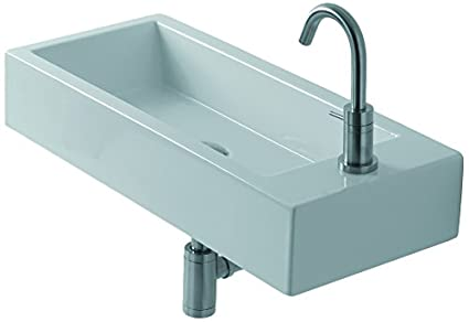"WS Bath Collections Hox Mini 45L - WS05201F Ceramic Wall Mounted Bathroom Sink with Right-Side Single Faucet Hole without Overflow, 17.7"", White"