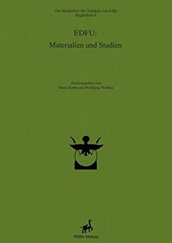 Edfu: Materialien Und Studien (Die Inschriften Des Tempels Von Edfu)  (Tapa Dura)