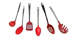 Lot de 6 ustensiles de cuisine nylon et inox rouge amazon - Ustensiles de cuisine en anglais ...