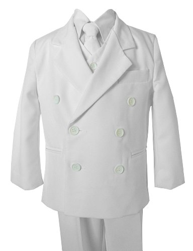 Boy Db White Double Breasted Formal Dress Suit Set (5) front-131096