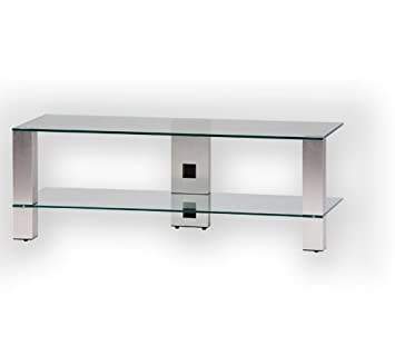 Sonorous PL 3410-C-INX  Sonorous PL 3410-C-INX Tisch fur 50 Zoll Fernseher, Aluminium Inox Klarglas/Silber