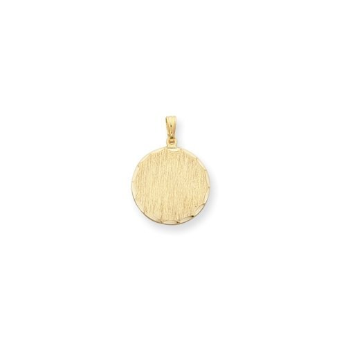 18in Gold-plated Round Satin Engravable Disc Necklace