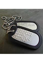 2 Custom Military Dog Tags Embossed w/ Silencers & Chains