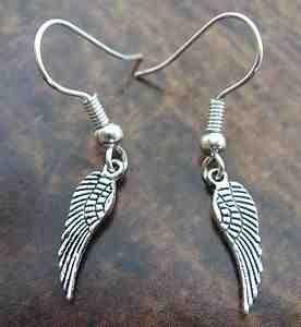 1 Coppia 'Angel Wing' charm in argento fatti a mano orecchini~piccolo