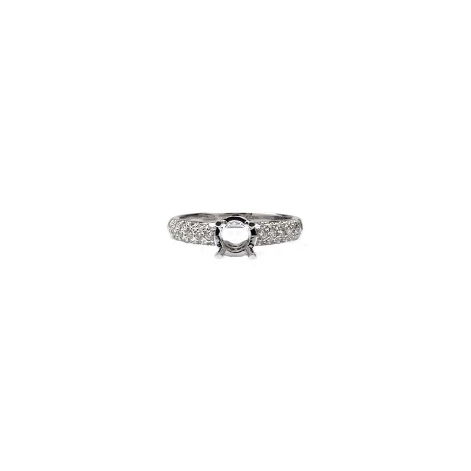 18k White Gold, Micro Pave Round Diamond Engagement Setting (0.50 ctw)