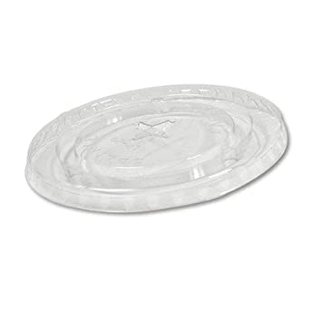 Boardwalk YLP-20C 20-Ounce Clear Plastic Flat Lid with Straw slot 85-Pack (Case of 12)