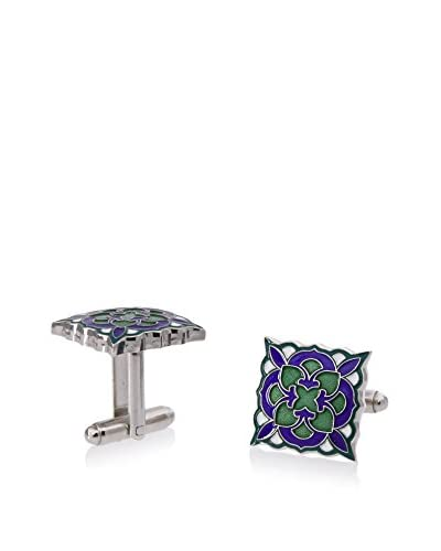 L2 by LOMA Green and Blue Deco Bloom Cufflinks