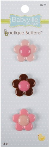 Babyville Boutique Buttons, Flowers, 3 Count front-76520