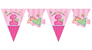 Creative Converting Party Decoration Fun at One Pennant Flag Banner, 1st Birthday, 12-Feet, Pink from Creative Converting