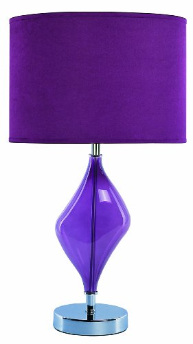 Park Madison Lighting PMT-1402 Contemporary Table Lamp with Purple Color Glass Finish and Matching Hand Crafted Shade, 20-3/4-Inch