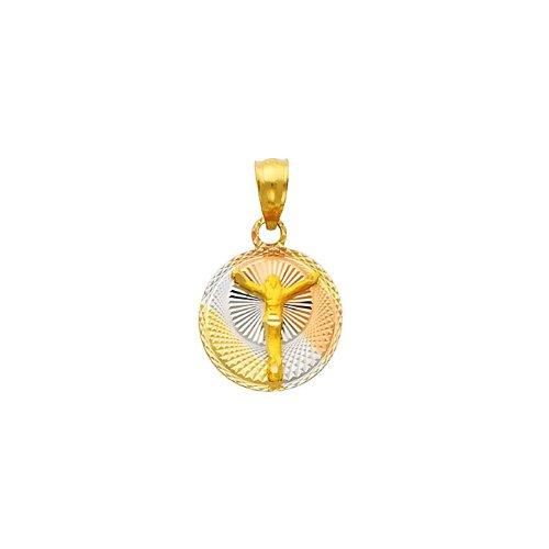 14K 3 Tri-color Gold Dia-Cut Religious Jesus Stamp Charm Pendant