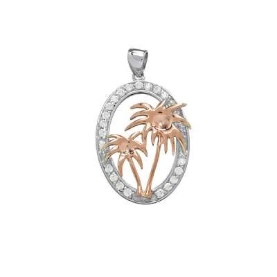 Fashion Necklace Pendant Jewelry 925 Sterling Silver and Attractive Rose-Gold Palm Trees w/ CZ Open Oval Design(WoW !With Purchase Over $50 Receive A Marcrame Bracelet Free)
