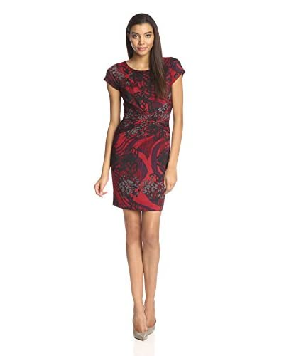 Ellen Tracy Women's Short Sleeve Printed Sheath Dress
