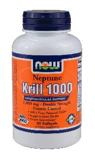 NOW Foods - Neptune Krill 1000 Cardiovascular Support Enteric Coated Double Strength 1000 mg. - 60 Softgels (Multi-Pack)