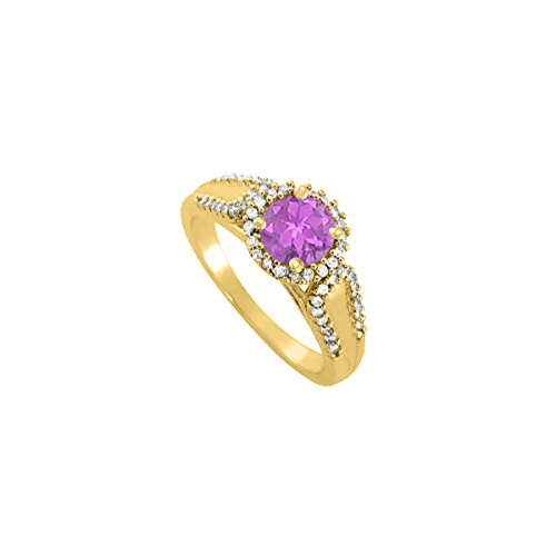 Amethyst And CZ Halo Engagement Ring In Yellow Gold Plated Vermeil Over 925 Sterling Silver Best Price
